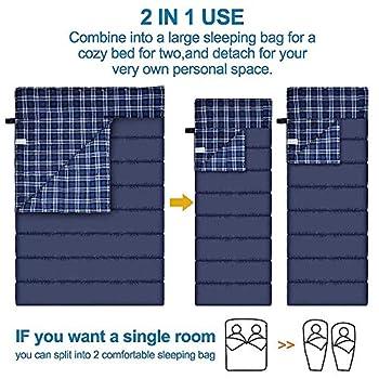 Sac de couchage double de flanelle de coton pour le camping, la randonnée, ou la randonnée. Sac de couchage imperméable de la Reine 2 par temps froid de la Reine 2 pour des adultes ou des adolescents.