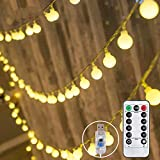 Cortina Luces LED 10m 100 LED, con Control Remoto, Pulchram LED Cadena de Luz Decoración Navideña, 8 Modos y Temporizador, Luz de Noche para Jardín, Boda, Dormitorio, Fiesta, árbol, Balcón