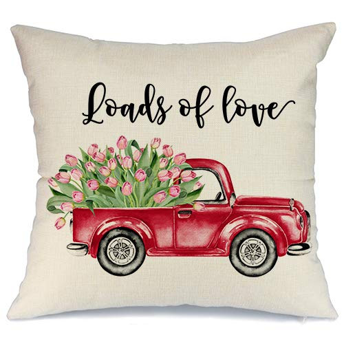 AENEY A181 - Funda de almohada de San Valentín para sofá, camión, rosa, flor, feliz día de San Valentín, decoración del hogar, funda de almohada de lino sintético