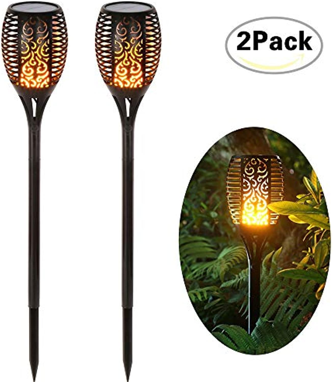 96 LEDs Solar Flamme Flackern Garten Lampe Taschenlampe IP65 Outdoor Scheinwerfer Landschaft Dekoration LED Lampe für Gartenpfade,2Pack
