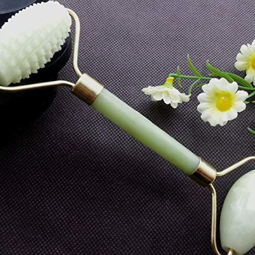 Preisvergleich Produktbild Candyboom 2 Köpfe Jade Stein Gesicht Arme Nackenmassagerolle Entspannung Stressabbau Natürliche Schönheit Werkzeug Akupressur Massagegerät