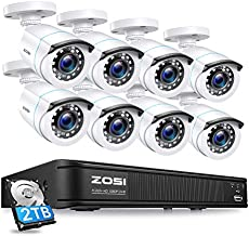 ZOSI 1080P H.265+ Home Security Camera System, 5MP Lite 8 Channel CCTV DVR Recorder with Hard Drive 2TB and 8 x 1080p Surveillance Bullet Camera Outdoor Indoor with 80ft Night Vision, Motion Alerts