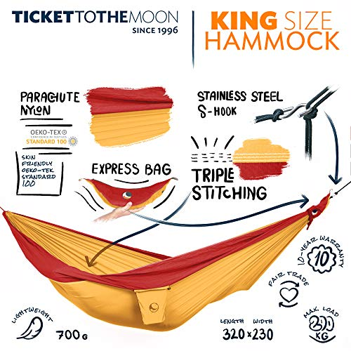 Ticket to the Moon Fair Trade & Handmade 1-2 Person King Size- Lightweight-Hammock Yellow-Red for Travelling, Camping, XXL 3.2 * 2.3m, 700g, Parachute-Silk, Set-Up  1 min, OEKO-TEX