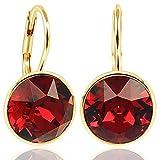 NOBEL SCHMUCK Ohrringe Gold Rot mit Kristallen von Swarovski® 925 Sterling - schlicht modern