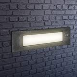 Lámpara LED de pared empotrable para exterior, IP55, para paredes, caminos, entradas, escaleras, color negro, 230 V, 11 W, R7s, luz blanca cálida