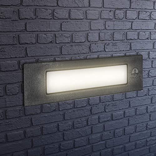 Lámpara LED de pared empotrable para exterior, IP55, para paredes, caminos, entradas,...