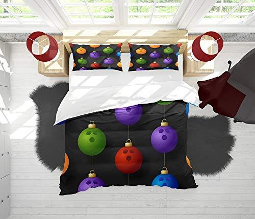 SAIAOS Funda nórdica,Bola de Bolos Creativa Adornos Estilo Bola Colgante de decoración navideñasuave Dormitorio de Hotel Lujo Juego de Cama de 3 Piezas con 2 Fundas de Almohada