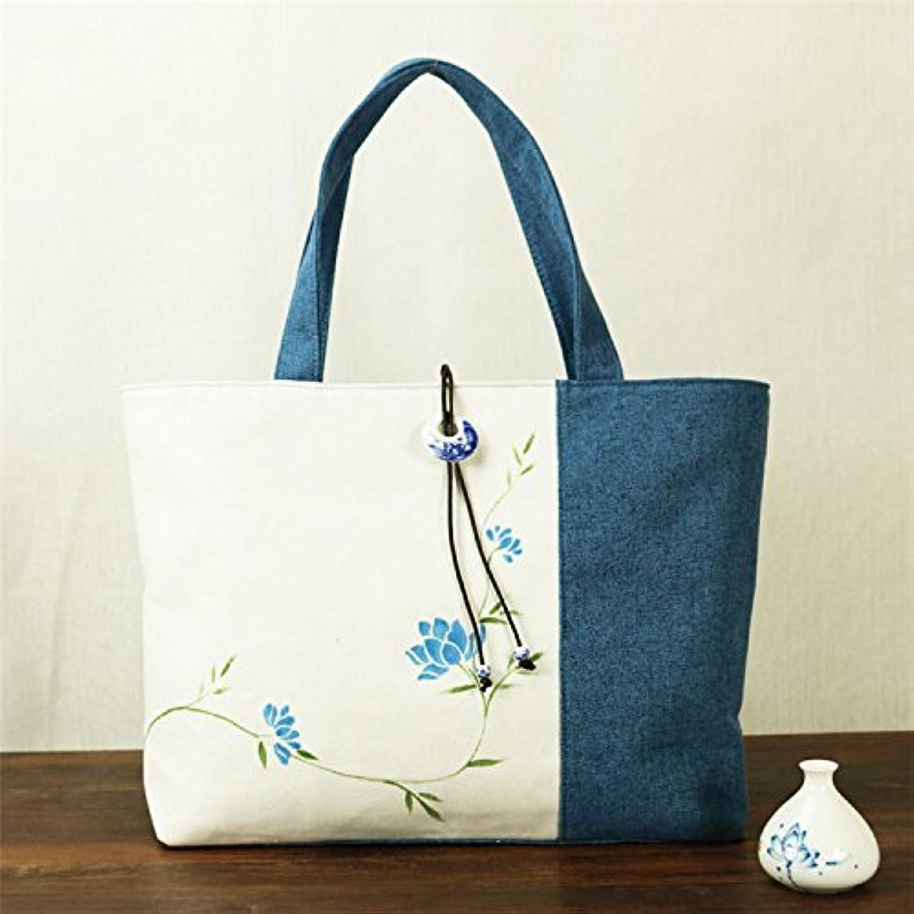 タンザニアごみ反対棉麻 手描き絵画 レディース トートバッグ、青