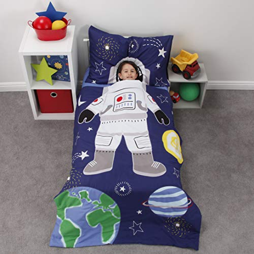 of lambs ivy crib beddings dec 2021 theres one clear winner Everything Kids Glow in The Dark 4 Piece Toddler Bed Comforter Set, Space Astronaut, Navy/Green/Yellow/White