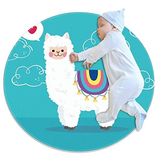 Alfombra redonda de alpaca con nubes para niños, juego de bebé, suave, para dormitorio, sala de juegos, alfombra para el hogar (70 x 70 cm)