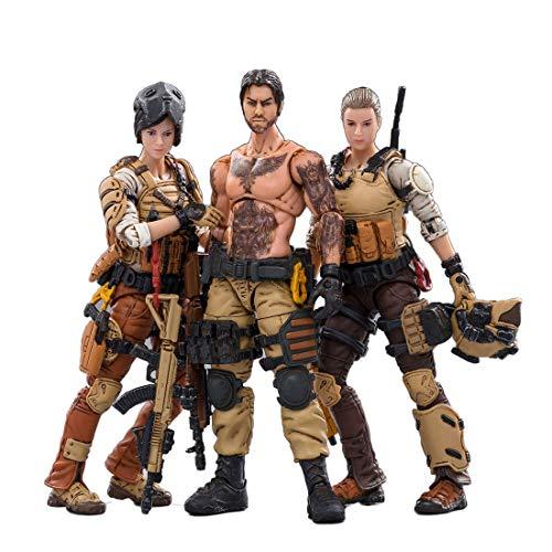 HYZM 1/18 Soldat Actionfigur, 3Pcs Action Figuren Modell Beweglich Figuren von 45th Legion Wasteland Hunter Soldat Modell Spielzeug