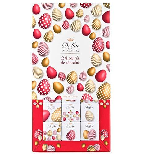 Dolfin 24 Carrè Tema Pasqua Cacao al Latte e Fondente Aromatizzati in 6 Sapori in Confezione Regalo - 1 x 108 Grammi