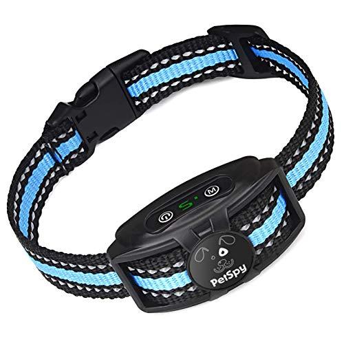 PetSpy No Shock Bark Collar for Dogs Barking Control Humane Waterproof Training Device w/2 Anti-Bark Dual Vibration & Beep for Small Medium Large Dog