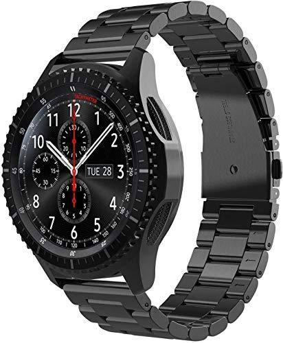 22mm Correa de Reloj Compatible con Huawei Watch GT/GT2 46mm/Samsung Galaxy Watch 3 45mm/Watch 46mm/Gear S3 Frontier/Garmin Vivoactive 4 Correa Acero Inoxidable Banda de Metálico-Negro