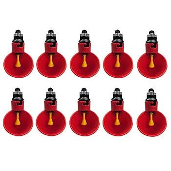 PanDaDa Abreuvoir Automatique Tasses d'eau Potable Rouge en Plastique pour Oiseaux Poule Volaille - 10PCS