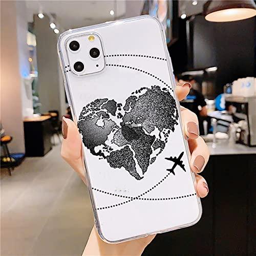 Funda para teléfono de Viaje en avión para iPhone XR XS X 12 11 Pro MAX SE 2020 6s 7 8 Plus Funda de TPU Transparente Suave de Silicona, 01, para iPhone 6 6s