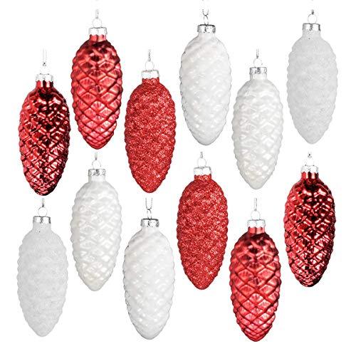 Ecosides Lot de 12 10cm Pommes Pin en Verre de Noël,d'Ornements Peints en Couleur et étincelants et de Pommes Pin suspendues pour Sapin de Noël,Noir et Blanc