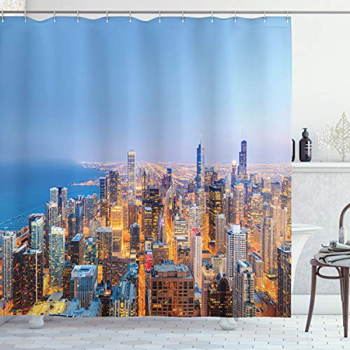 """Ambesonne Chicago Skyline Shower Curtain, Aerial View of Town with Michigan Lake Vibrant City Panorama Evening Time, Cloth Fabric Bathroom Decor Set with Hooks, 70"""" Long, Blue Orange"""
