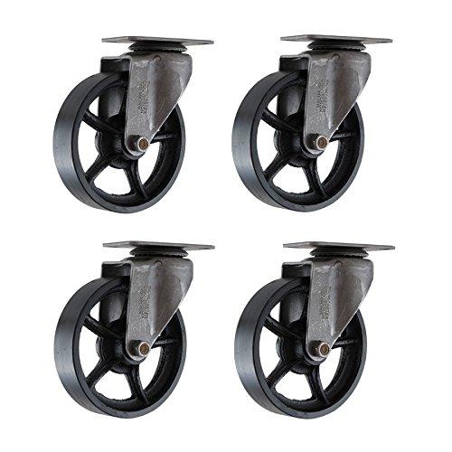 (Set of 4) 4' CC Vintage Swivel Caster - Plate Mount - Black Cast Iron Wheels