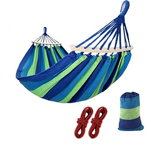 JZK 200 cm x 100 cm Hamaca para acampar externos, hamaca algodón con varillas madera, hamaca portátil con bolsa para senderismo camping jardín playa