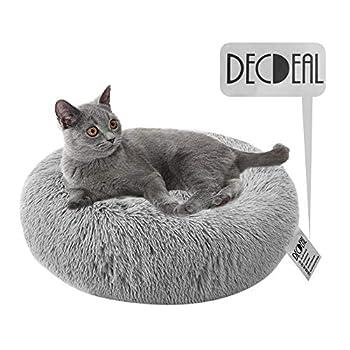 Decdeal Lit pour Chat Lit pour Chien Lit Moelleux Rond pour Animal Lit Donut Chien Nest Deep Sleep Pet Matelas Epais Chien Lit Convient pour Chat Chiots Chaton Petits Animaux