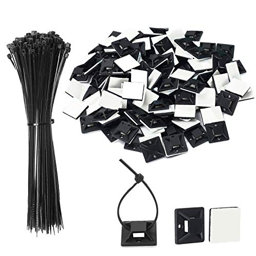 Jatiles, 100 basi adesive nere per set di fascette stringicavo autoadesive di base per cavi di base con fascette multiuso (lunghezza 150 mm, larghezza 2 cm)