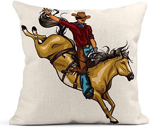 Decoración Cojín de Lino Texas Rodeo Cowboy Montar Caballo Bucking Sport West Western Wild American Square Ropa de Cama