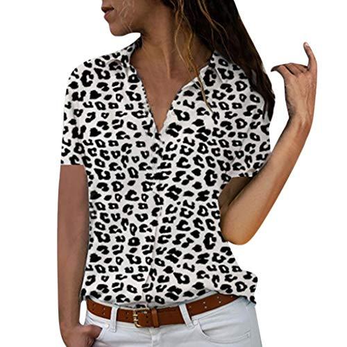 AmyGline Oberteile Damen Bluse Groß Größe Drucken V Ausschnitt Kurzarm Knopf Hemd Kurzarm T-Shirt Chiffon Top Freizeitbluse Sommerblusen Hemden Shirt