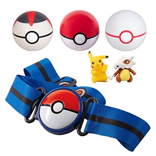 PoKéMoN Clip 'N' Go Belt Set with 3 Poké Balls & 2 Figures - Includes Pikachu and Cubone Figure - Holds Up to 6 Pokeballs - Ages 4 +