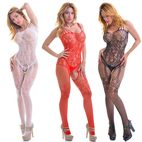 ANAMEL Pack 3 Bodystocking Mujer - Catsuit - Lenceria Mujer Fina - Medias Cuerpo Entero - Mono Lingerie - Bodystocking con Aberturas - Body (Blanco - Negro - Rojo)