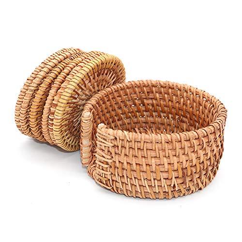 POFET Handgewebte Rattan-Untersetzer für Teetasse, Bodenplatte, isoliert, für Esszimmer-Zubehör, 6 Stück/Set mit Halter (Rattan, 8 cm rund)