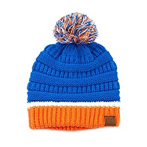 ScarvesMe Exclusive University College School Team Color Pom Pom Skully Beanie Hat Cap