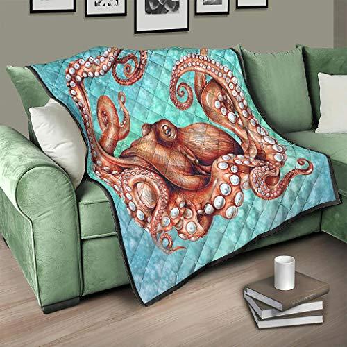 Flowerhome Colcha oceánica con diseño de pulpo, para cama o sofá, para todo el año, para adultos y niños, color blanco, 173 x 203 cm