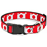 Buckle-Down 11-17' Camera Red/White Plastic Clip Collar, Medium