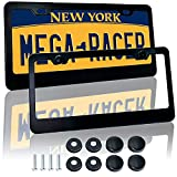 Mega Racer Black License Plate Frames - Aluminum Metal...