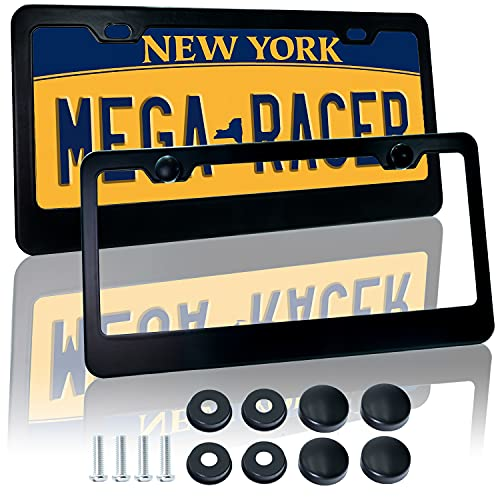 Mega Racer Black License Plate Frames - Aluminum Metal with 2 Screw Holes and Thin-Edge Design, UV Clear Coat Protection, Waterproof, Car Wash Safe, Pack of 2