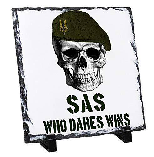 Teesquare1st SAS British Special Forces - Rock Slate Photo Gift, Foto en Piedra Pizarar Rock Photos Imagen Cuadro Cuadrado