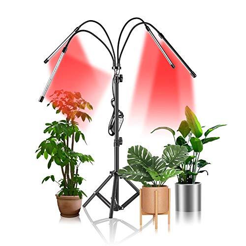 LED Plant Grow Light Full Spectrum Sunlight, 4 Head Plant Light with Auto Timer 10-Level Brightness,80 Leds Full Spectrum Floor Plant Lights Tripod Adjustable, 4/8/12H Timer & 3 Modes, 360°Rotatable