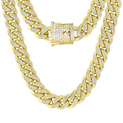 KRKC&CO 14 mm Cuban Link Chain, Iced Out Chain, Curb Chain, 14 K Gold/White Gold Plated, Cuban Chain, Men's Curb Chain with Cubic Zirconia Stones, Hip Hop Choker Chain, 46 - 61 cm golden