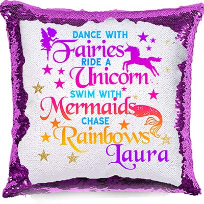 Print Maniacs PERSONALISED Unicorn Sequin Cushion Cover Magic Reveal Pink Birthday Black Blue Gold Red Silver