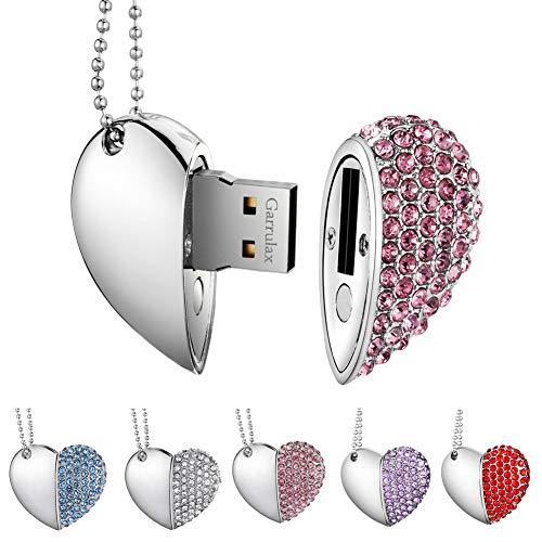 Garrulax Memoria USB, Pendive USB 2.0, Premium Impermeable Heart Diamantes 8GB / 16GB / 32GB Alta Velocidad Pen Drive Memory Stick Flash Drive Memorias