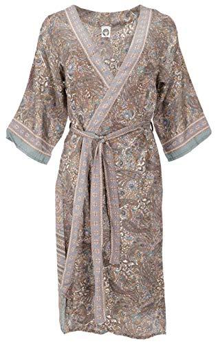 Guru-Shop - Vestido kimono, sedoso y brillante, boho kimono, 3/4 kimonomantel, mujer, negro, sintético, talla: 38, largo & medio, ropa alternativa azul turquesa 40