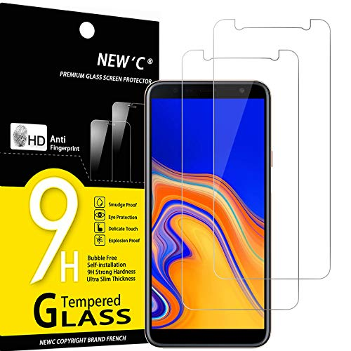 NEW'C 2 Pezzi, Vetro Temperato per Samsung Galaxy J4 Plus, Galaxy J4+ (SM-J415F), Pellicola Prottetiva Anti Graffio, Anti-Impronte, Senza Bolle, Durezza 9H, 0,33mm Ultra Trasparente, Ultra Resistente