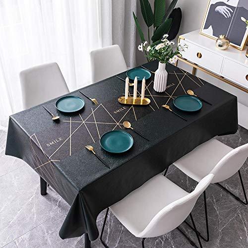 Ahuike Tischdecke wasserabweisend staubdicht PVC Haushalt für Buffet Tisch Party Urlaub Abendessen Tischdecke dunkelgrün 138×138cm