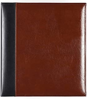 Pinnacle Frames & Accents Two Tone, Brown and Black Leather Photo Album, Magnetic
