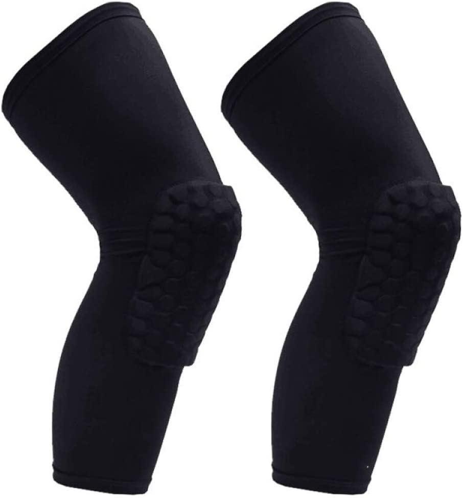 PISIQI Knee Compression Pads Long Leg Sleeve Brace Protection for Basketball, Football & Volleyball (2 Sleeves) : Sports & Outdoors