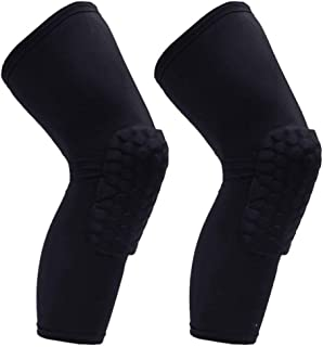 PISIQI Knee Compression Pads Long Leg Sleeve Brace Protection for Basketball, Football & Volleyball (2 Sleeves)