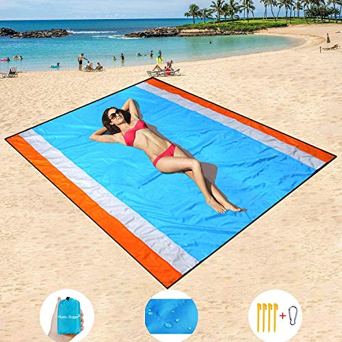 Mumu Sugar Sand Free Beach Mat Oversized 82'x79' Sand Proof Beach Blanket Outdoor Picnic Mat for...