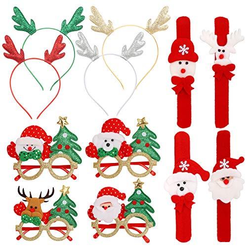 KATOOM 12 Pcs kit de Noël ,Lunettes de Noël Serre tete Noël Antler Paillettes Bandeaux Père Noël Costume de Photo Accessoires de fête Décoration pour Faveur de Vacances de Noël Cadeaux enfant