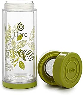 Libre Durable Glass Infuser Bottle with Mesh Strainer for Loose Leaf Tea, Matcha, Fruit, and Cold Brew Coffee, BPA-Free, 14oz, Lively Leaves Green